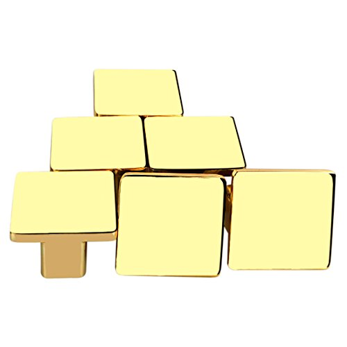 uxcell Set of 6 Modern Metal Finishes Knob Polished Brass Furniture Door Cabinet Hardware Wardrobe Drawer Pull Handles Square Knobs #1