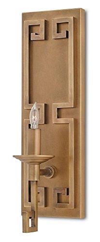 Greek Key 1 Light (Currey and Company 5230 Greek Key - One Light Wall Sconce, Antique Brass Finish)