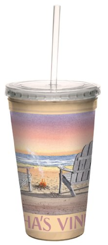 Tree-Free Greetings cc33010 Coastal Martha's Vineyard Beach Chairs by David Bartholet Artful Traveler Double-Walled Cool Cup with Straw, 16-Ounce