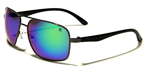Square Men's Women's Aviator Sunglasses Retro 80's Color Mirror Lens