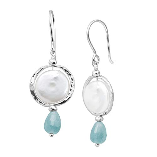 Silpada 'Josephine' 12 mm Freshwater Cultured Pearl & Natural Blue Quartz & Hematite Drop Earrings in Sterling Silver