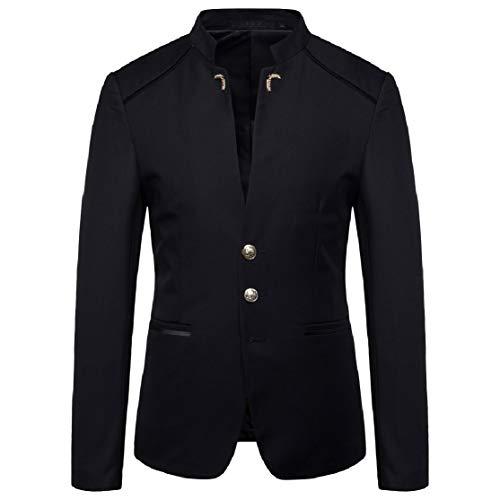 - KLJR Men Mandarin Collar Blazer Jacket Slim Fit Sports Coat Jackets Black US M