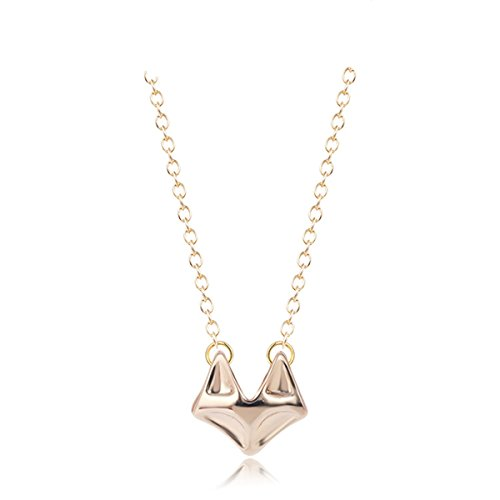 Fox Head Necklace with 16 Inch Chain Rose Gold Plated Alloy Jewelry for - Quarter Scottsdale Shops