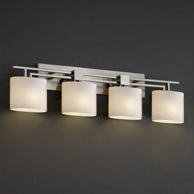 Justice Design FSN-8704-30-OPAL-CROM Aero Four Light Bath Bar, Glass Options: OPAL: Opal Glass Shade, Choose Finish: Polished Chrome Finish, Choose Lamping Option: Standard Lamping 8704 Mblk Matte