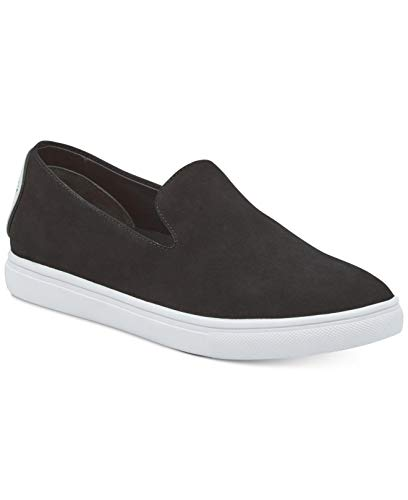 DKNY Womens Jilian Leather Low Top Slip On Fashion, Black Nubuck, Size 7.5 -