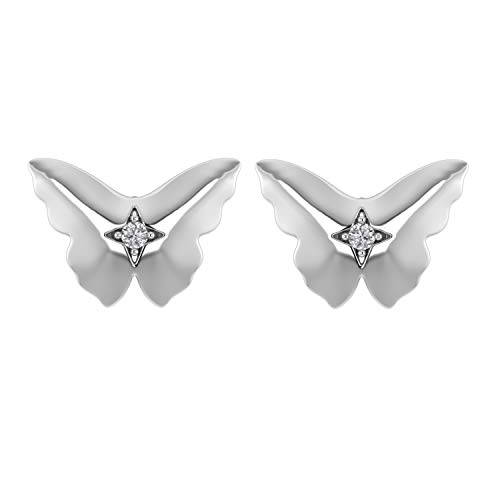 925 Sterling Silver Flying Butterfly Stud Earrings With Screw Back 0.05 Ct Natural Diamond (I1-I2/G-H) (white-gold-plated-silver) ()