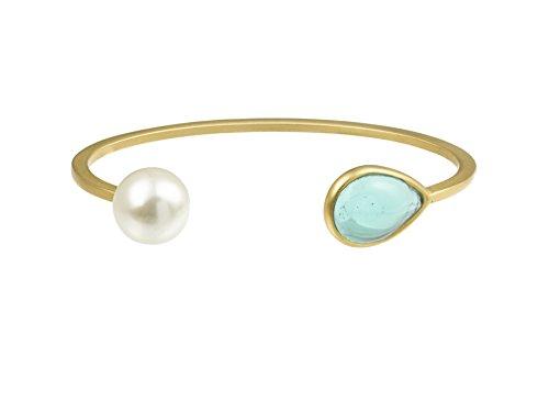Gripoix Paris Bracelet jonc Plaqué Or Poire Verre Vert Femme