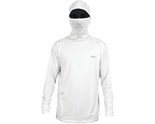 AFTCO Fish Ninja Ultra Performance Long Sleeve Shirt w/Hood - White - Medium (White Ninja Hood compare prices)