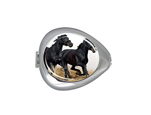 Black Horse Trio Custom Silver Oval Pill Box Pocket Purse Pill Case Medical Tablet Holder Weekly Pill Organizer Decoration Box ()