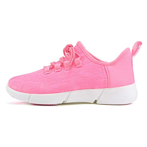 ℱLOVESOOℱ Couple Lace-Up Sneakers with Led Light Unisex Colorful Flash Casual Shoes Quick-Drying Breathable Runing Shoes Pink by ℱLOVESOOℱ (Image #3)