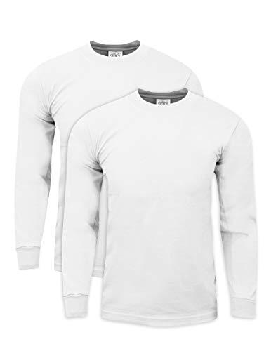 - Shaka Wear MHL01_2T Max Heavy Weight Cotton Long Sleeve T-Shirt White 2X-Tall 2pk