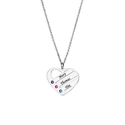ANAVIA Personalized Birthstone Necklace Love Heart Shape Jewelry Custom Name Stainless Steel Pendant Necklace Gift for Women Mother Grandma Friends, Free Engraving