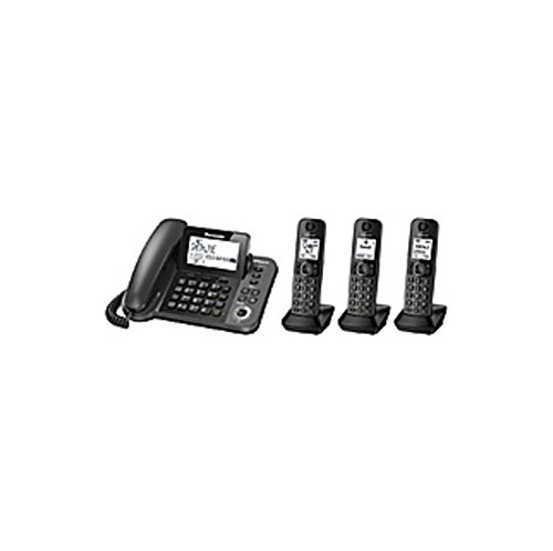 Panasonic Link2Cell KX-TGF383M DECT 6.0 1.90 GHz Cordless Phone - Metallic Black - Corded/Cordless - 1 x Phone Line - Speakerphone - Answering Machine - Hearing Aid (Certified Refurbished) (Corded Speakerphone Answering Machine)