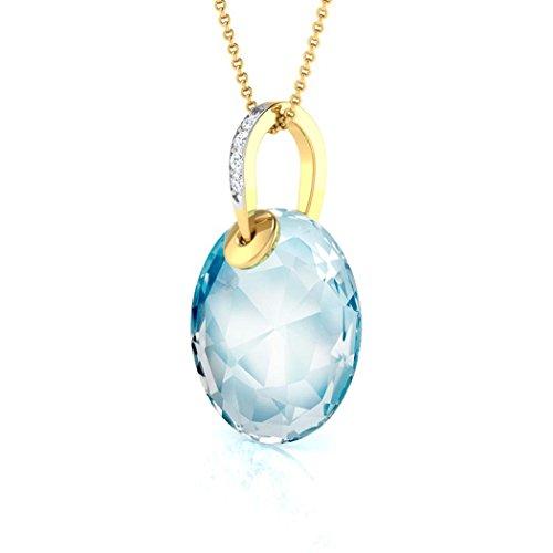 14K Or blanc 0,01carat au total Round-cut-diamond (IJ | SI) et topaze bleue Pendentif