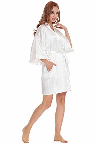 4e08c9c412 TIMSOPHIA Women Robes Pure Colour Short Kimono Robes Silk Satin Robes For  Bride and Bridesmaid Wedding ...