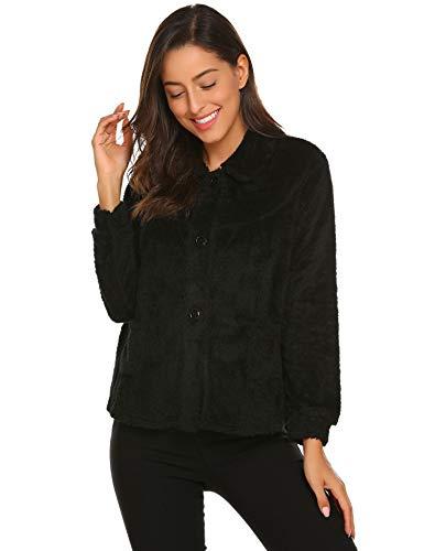 Ekouaer Women's Peter Pan-Collar Bed Jacket 3/4 Sleeve Button Up Soft Flannel Sleepwear (Medium, O-Black)