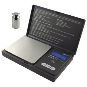 American Weigh Signature Series Black Digital Pocket Scale, 1000 By 0.1 Grams Also Includes a 50 Gram Chrome Scale Calibration Weight
