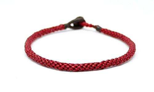 Origin Siam Handmade Thai Buddhist Wristband | Unisex Tight Weave Slim Bracelet | Karma Luck Love Friendship | Yoga Meditation Gift (Red) ()