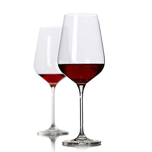 Crystal Wine Glass,Pure Stem Collection Red Wine Glasses,Cabernet Sauvignon Wine Glass,Clear and Perfect for wine tasting,wedding,party,100% Lead Free,10.9 inch long and 4 inch wide,27-Ounce,Set of 2