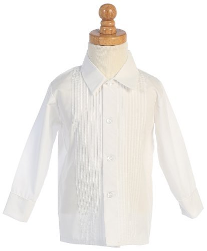 Lito Boys White Long Sleeved Child's Pleated Tuxedo Dress Shirt - 3T Medium