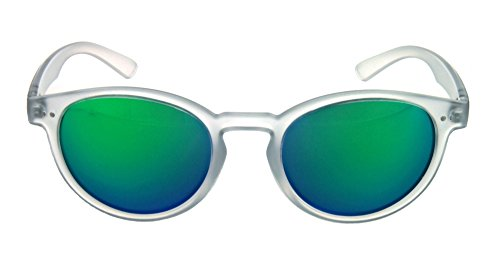 Optic Nerve Oscar Derento Sunglasses - Matte Crystal Clear Frame with Grey Green Mirror (Grey Green Mirror)
