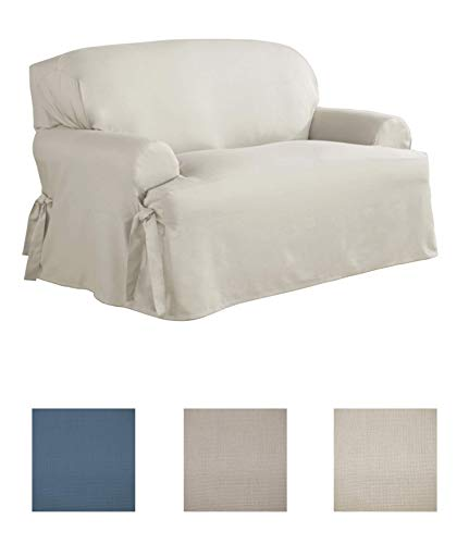 Serta | Relaxed Fit Durable Woven Linen Canvas Furniture Slipcover (T-Love Seat, Natural) (Loveseat Upholstery)