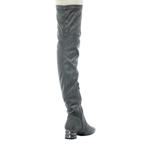 Botas 4 Cm Moda Tacón Joyas Gris Alto Ancho Angkorly 5 Altas Zapatillas De Talón Mujer Flexible qwn7Ft