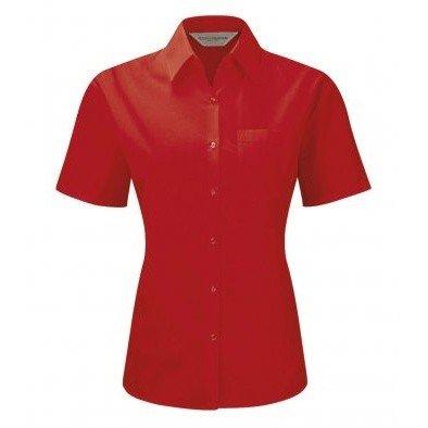 こっそり協会めったに(ラッセル) Russell レディース ポリコットン イージーケア 半袖ポプリンシャツ ワイシャツ ブラウス 女性用 (XS) (クラシックレッド)