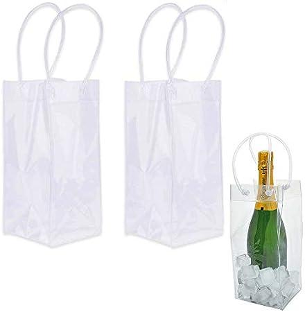Nuluxi Bolsa de Hielo con Mango Champán Bolsa de Refrigerador Bolsa de Vino para Hielo Transparente Bolsa de Enfriador de Vino Bolsa de Hielo a Prueba de Fugas para Pubs y Restaurantes, Hogar-2 Piezas