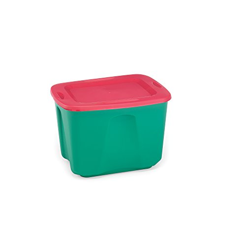 Homz Holiday Plastic Storage Tote Box, 18 Gallon, Green With Red Lid, Stackable, 8-Pack