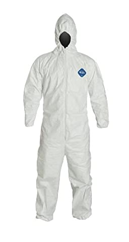 DuPont Tyvek TY127S Disposable Coverall with Hood, Elastic Cuff, White, 4XL (Pack of 25)