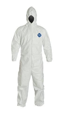 DuPont TY127S Tyvek Fabric Protective Coverall with Hood, Disposable, Elastic Cuff, Large, White (Sealed Bag of 1)