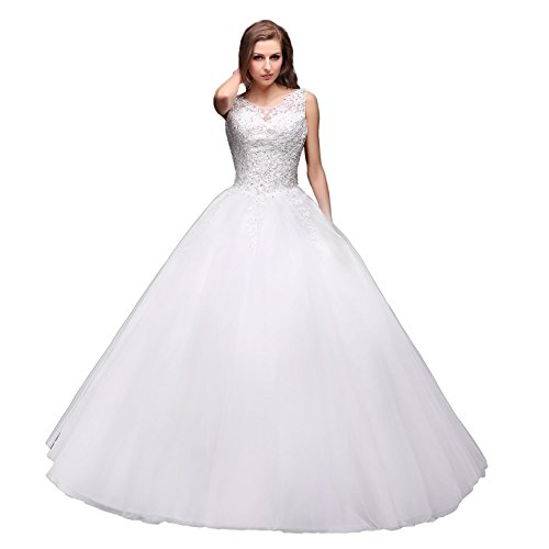 EnjoyBridal® Damen Spitze Tüll Perlen Brautkleid