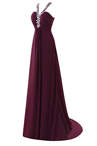 Evening Ocean A V Blue Line Bess Dresses Bridal Crystals Neck Women's Chiffon Prom OzXExwqPnE