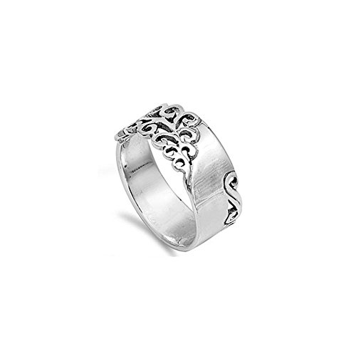 (Noureda Sterling Silver Fancy Filigree Vine Design Thick Band Ring with Face Height of 9MM)