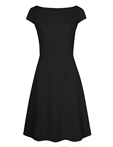 Women's Classic Cap Sleeve A-line Dress Boatneck Dress for Work Black - Cap Boatneck Sleeve