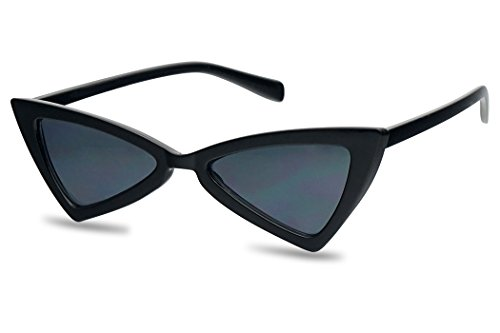 Small Sleek Narrow Retro Triangle Bow-Tie Shaped Extreme Cat Eye Sun Glasses (Glossy Black Frame | Black) ()