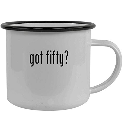 got fifty? - Stainless Steel 12oz Camping Mug, Black