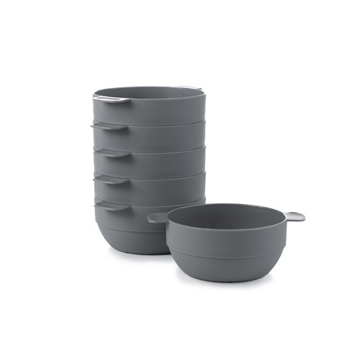- Amuse- Unbreakable & Stackable Bowls < Dessert, Cereal or Ice Cream > - 6 pcs- 16.9 oz (Gray)