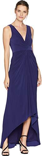 Adrianna Papell Women's Draped Halter V-Neck Matte Jersey Dress, Admiral Blue, 10