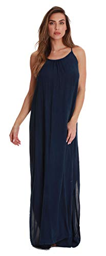 - Riviera Sun Solid Spaghetti Strap Dress 21889-NVY-L Navy