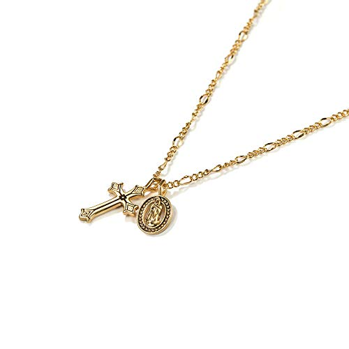 - ACC PLANET Gold Coin Necklace 14K Gold Plated Box Chain Saint Medal Disc Circle Vintage Dainty Necklace for Women (Cross Necklace 2)
