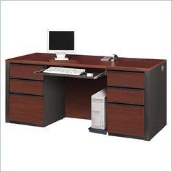 Table Set Bordeaux - Bestar Prestige Plus Double Pedestal Computer Desk - Bordeaux