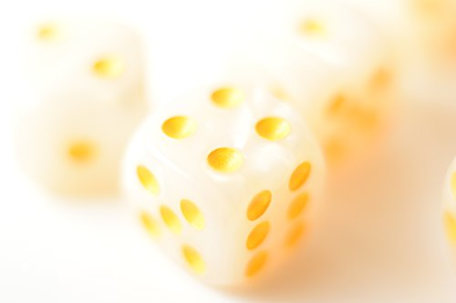 (New Pearl White with Yellow Pips Dots d6 Dice Set (10) Wavy New RPG DnD Yahtzee)