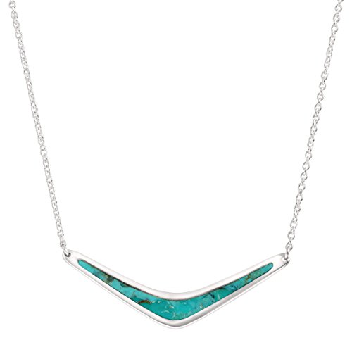 Acrylic Turquoise Necklace - Silpada Reversible Boomerang' Compressed Turquoise Necklace in Sterling Silver, 18