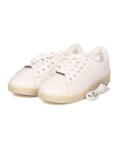 Alrisco Kvinnor Läder Lyser Upp Avgift Ledde Sneaker - Casual, Party, Festival - Blinkande Lampor Gymnastiksko - Gf40 Av Vit / Vit