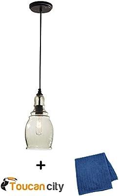 01bddf8ab19 Hampton Bay 1-Light Black Mini Pendant 17221 and Toucan City Microfiber  Glass and Window Cloth