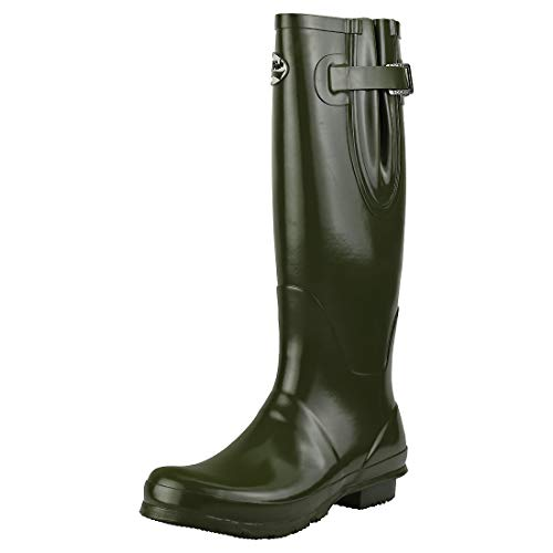 Rockfish Wellies Gloss Olive Adjustable Dark Tall Uk5 qqvcRHwAr