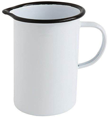 Creative Co-op White Enamel Creamer Pitcher 4.75 inches - Pitcher Enamel