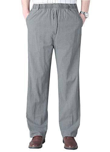 Soojun Mens Seniors Solid Loose Fit Elastic Casual Pants, Medium Gray (X-Large, 38W)